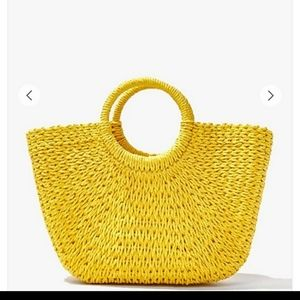 F21 Straw basket woven tote bag